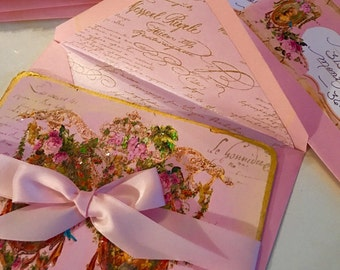 Garden of The Ancients Pink Twilight for Marie Antoinette Set of 6 Large Invitations or Folding Cards with Shimmering Pink Envelopes