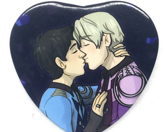 "Yuri on Ice Yuuri Victor kiss YOI anime heart shaped 2"" pinback button"