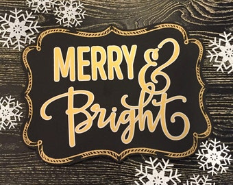 Gold and Silver Merry & Bright Christmas Sign