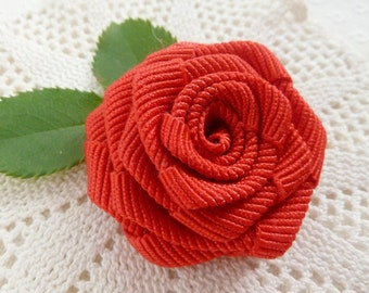 Ribbon Flower Tutorial - Classic Rose Pattern - fabric & ribbon Instructions  - Instant DOWNLOAD