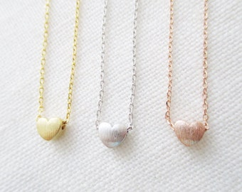 Gold, Rose Gold or Silver heart necklace...dainty handmade necklace, everyday, simple, birthday,  wedding, bridesmaid jewelry