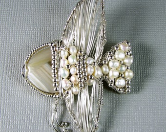 Angelfish Pendant Pearls and sterling silver Bubbles wire wrapped