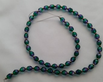 Green/Purple Faceted Round Glass Beads 5mm