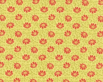 1 yard piece/remnant - SALE - Somerset - Floral Swirls in Citron Green: sku 20232-12 cotton quilting fabric by Fig Tree for Moda Fabrics
