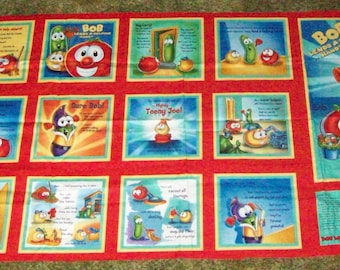 Veggie Tales for child fabric panel cotton soft book with 10pgs and instructions great quiet time book uncut never washed dried or ironed