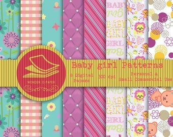 Baby Girl Digital Papers - 8 Designs 12x12in, 30x30 cm - Ready to Print - High Quality