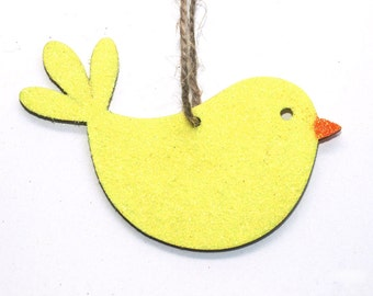 Easter Decoration, Chick, Wooden Ornament, Glitter Decoration, Bird Ornament, Hanging Decoration, Chick Decoration, Easter, Yellow, Orange