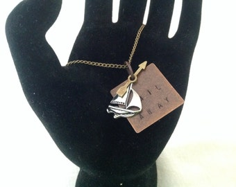 """Hand-stamped Brass and Silver Nautical Sail Necklace- """"Sail Away"""" *FREE Shipping**"""