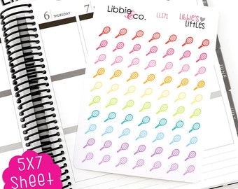 LL171 Libbie's Littles Tennis Racquet Stickers!  Tennis Game, Date, Practice, Coach, Erin Condren, Happy, Mambi, Personal Planners!