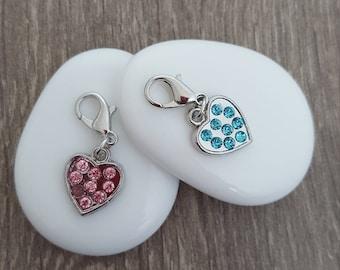 Charms hearts rhinestones pendant