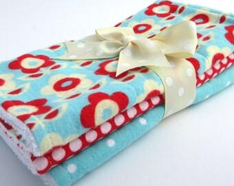 Baby Burp Cloth Set - Set of 3 - Baby Girl - Red, Aqua, Cream Modern Flower Print, Red Polka Dot, Aqua Polka Dot  - White Terrycloth