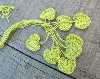 Small wedding favors, crochet tiny green hearts, 15 green hearts, wedding decorations, embellishments, applique, Birthday, scrapbooking,card