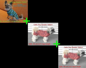"Dog Sweater Pattern BUNDLE 3 SIZES: 30 cm (12'') + 35 cm (14'') + 40 cm (16"") back length"