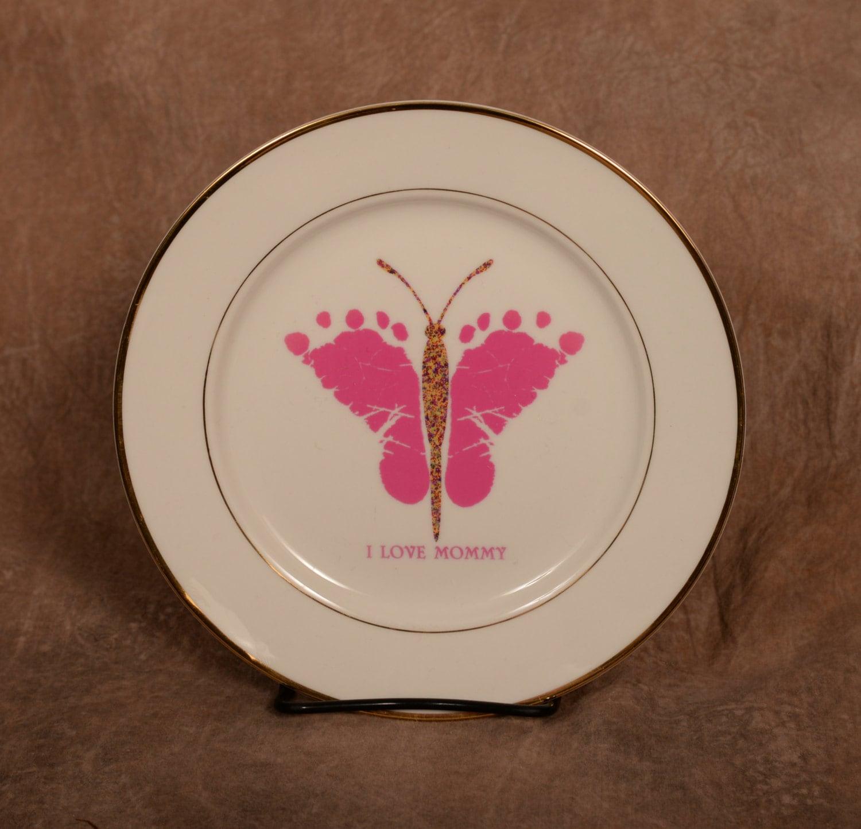 Baby footprints handprints ceramic plates created using for Handprint ceramic plate ideas