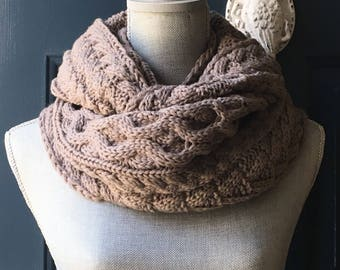 Womens Knit Infinity Scarf, Knit Winter Scarf, Cozy Knit Infinity, Scarf, Knitted Scarf, Gift for her,