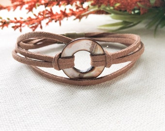 Faux Leather Bracelet, Button Bracelet, Brown Bracelet, Faux Suede Bracelet, Leather Bracelet, Gift For Men, Mens Gift | Jewelry for a Cause