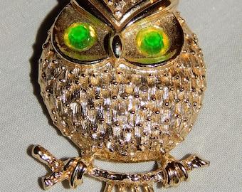 Cute Vintage Owl Brooch - Sarah Coventry, 1960s