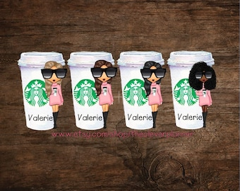 Personalized Coffee Girl Page Keeper Bookmark  for your Louis Vuitton Agenda, Kate Spade, Filofax, Happy Planner, A5, A6 and More!