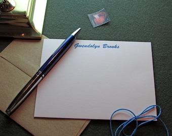 Custom Letterpress Stationery - 10 Personalized Notecards - Brush