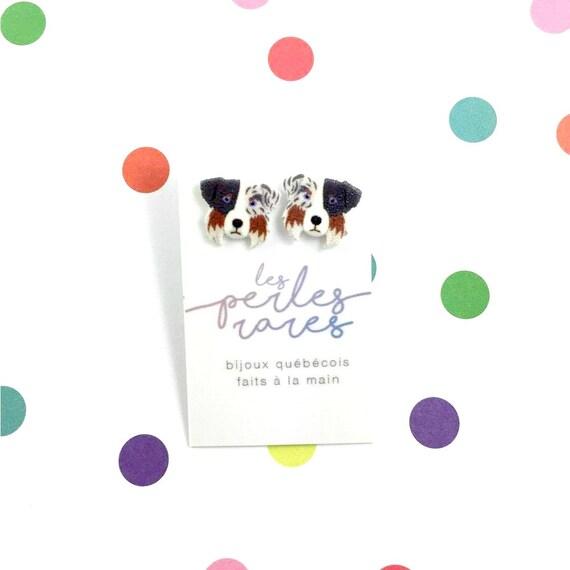 Aussie, brown, black, white, border collie, dog earring,dog,  hypoallergenic, plastic, stainless stud, handmade, les perles rares
