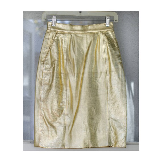 Vintage 80s Lillie Rubin Gold Leather Mini Skirt Small
