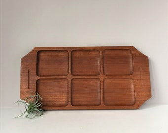 Vintage Teakwood Tray, Divided Wooden Tray, Appetizer Hors d'oeuvres Tray, Mid Century Danish Modern, Cheese and Crackers, Buffet Dining