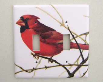 Double cardinal bird light switch cover switchplate