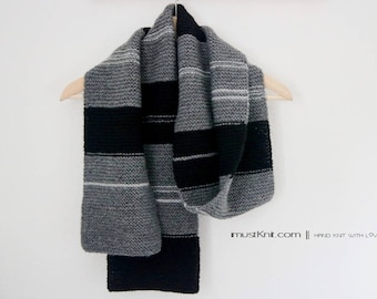 hand knit scarf || knit garter scarf || winter scarf | striped scarf | one of a kind mens scarf -grey black stripe 6.5 x 70.5''