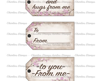 Vintage tags/Printable Tags/To-from tags/Cherry Blossom tags
