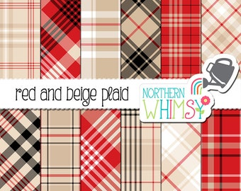 Red and Beige Plaid Digital Paper - diagonal and seamless plaid patterns for graphic design and scrapbooking - commercial use