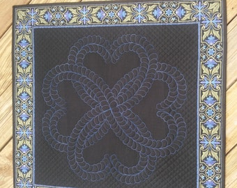 Custom Black and Blue spread cloth with overlapping hearts