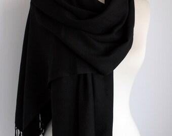 Black Color Pashmina Scarf, Fringe Scarf, Circle Scarf, Scarves, Shawls, Extra Long Oversize Winter Infinity Scarf
