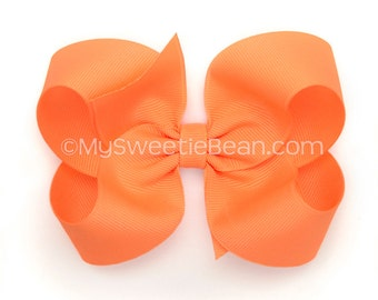 Peach Boutique Bow, 4 inch Hair Bow, Apricot Bow, Basic Bow, Baby Toddler Girl, Light Orange, Melon