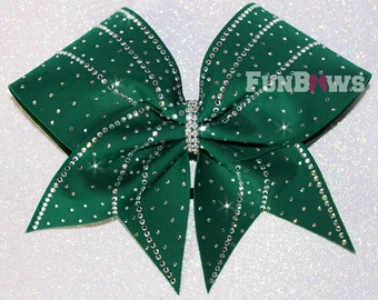 Beautiful Forest Green Rhinestone Cheer Bow  by FunBows  - Customize It !