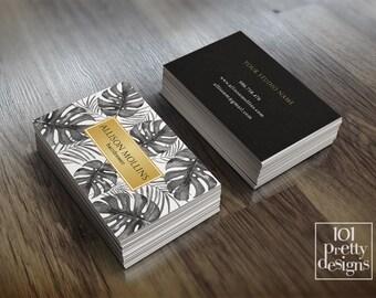 Modern business card makeup business card tropical printable business card design botanical business card gold foil black elegant leaves