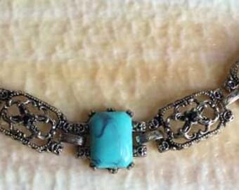Classic 1970s, Faux Turquoise Cabochon On Antiqued Silver Tone Bracelet