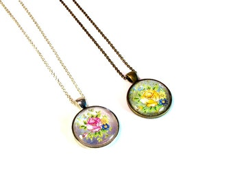Rose Floral Necklace Pendants, Vintage Inspired, Roses, Flowers, Handmade Gifts, Gift for Woman, Affordable Gift Under 15, in Pink or Yellow