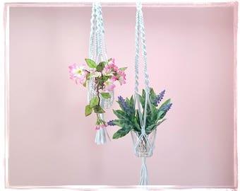 Hanging planter, Macrame Plant Holder, Cord Plant Hanger, Pot Plant Holder, Hanging Basket Holder, Modern Plant hanger, White Wedding hanger