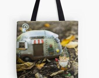 Gnome Canvas Tote Bag, Beach Tote, Garden Gnome Tote, Book Bag, Farmers Market Bag, Reusable Grocery Bag, Photo Tote Bag