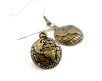 Tiny Globe - Antiqued Brass Vintage Style Dangle Earrings - CP079