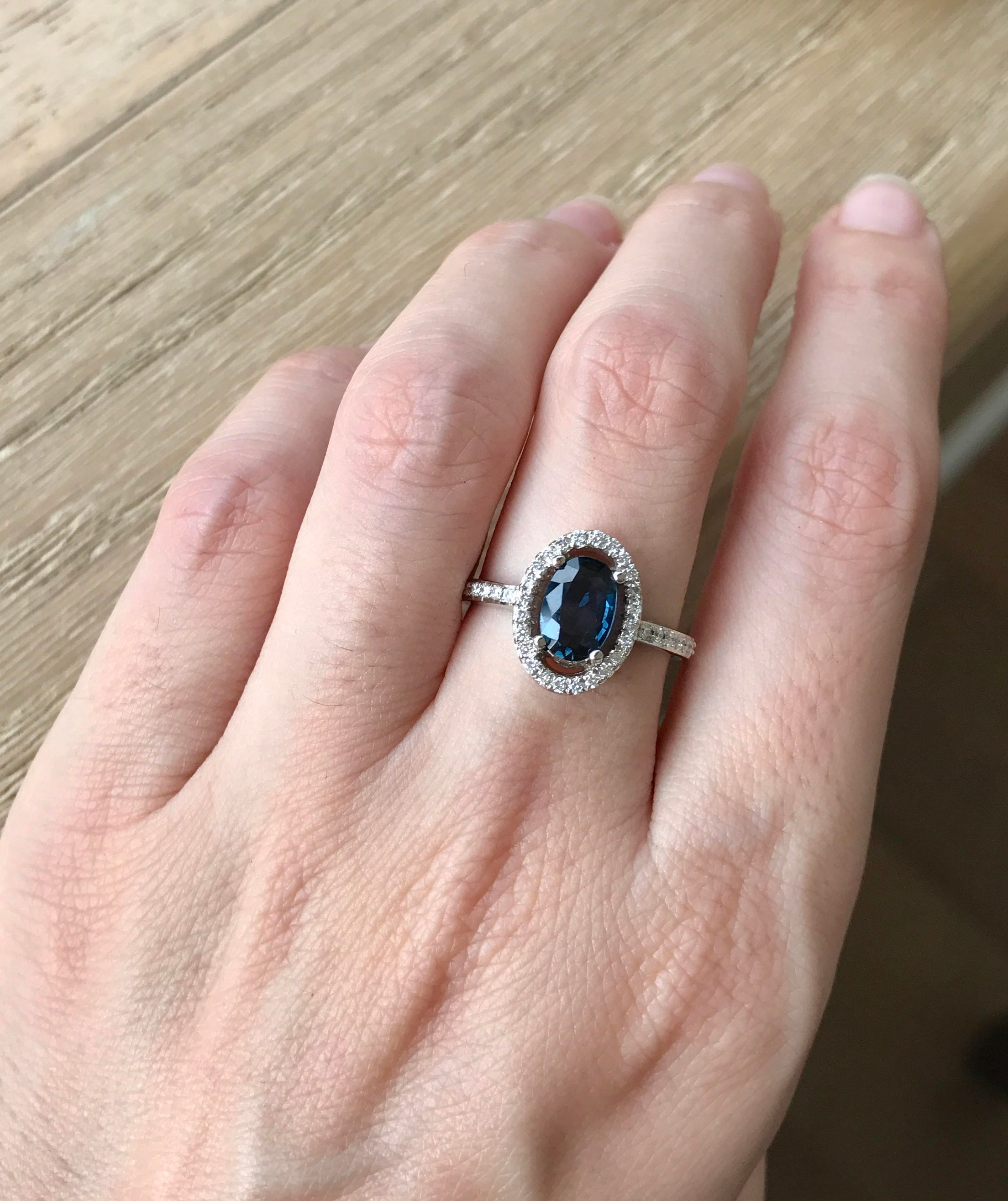 carat white gold ring saffy min karat cluster engagement sapphire