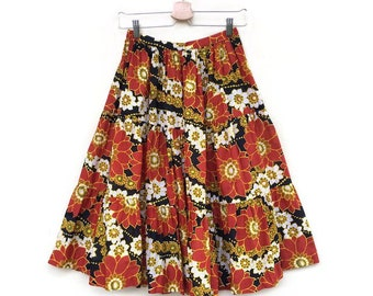 Vintage Floral skirt years 70 high waist