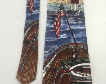 """vintage Silk Van Heusen AMERICANA SERIES NECKTIE """"Sail Away"""" 4""""x58"""" nte-106"""
