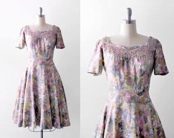 1950's floral dress. full skirt. 50's sequin dress. print. brushstroke. blue, green. 50 pink dress. l.