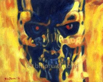 """Terminator exoskull exoskeleton art print 12""""x16"""" Bill Pruitt"""