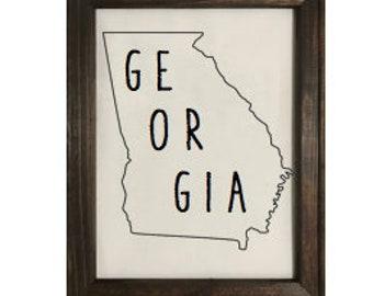 Georgia State Outline Farmhouse Sign