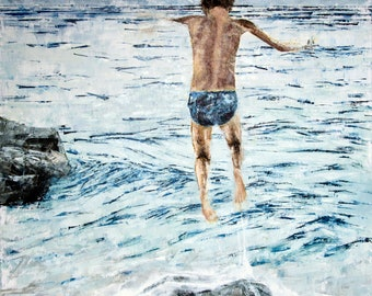 "Original oil painting Large living room decor Contemporary art 39.5""x39.5"" Jumping figure boy water seaside landscape seascape beach play"