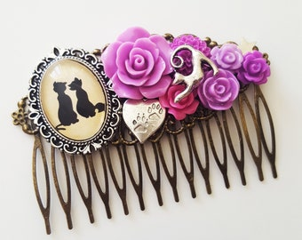 Aristocats Disney Silhouette Cat Lover Fairytale Cameo Handmade Bridal Hair Comb Wedding Hair Disney Wedding Gift for Her