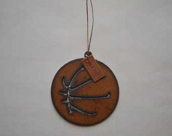 BASKETBALL made of Rustic Rusty Rusted Recycled Metal Custom PERSONALIZED BASKETBALL / Sports / Ornament or Magnet