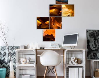 Gallery wall art - Set of 6 square photographs with print options - Horseshoe Bend and Antelope Canyon package